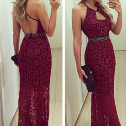 Lace Sling Sleeveless Sexy Backless Dress