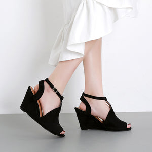 Suede Wedge Heel Buckle Wild Sexy High Heel Fish Mouth Women's Sandals