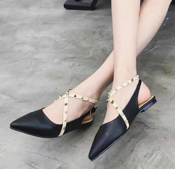 Rivet Cross Strap Flat Pointed Comfort Shoes