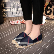 Plaid Round Head Straw Linen Canvas Shoes