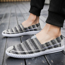 Casual Striped Soft Flat Loafers Straw Plaited Canvas Shoe