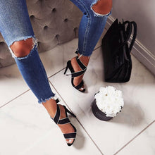 Buckle High Heel Shoes Suede Sandals