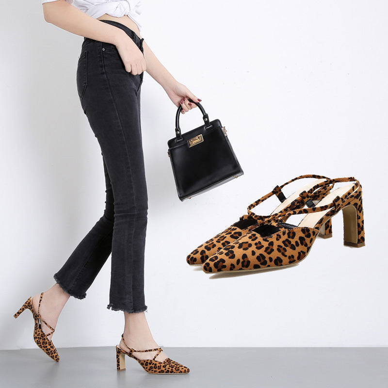 New High Heels Sexy Leopard Pointed Sandals