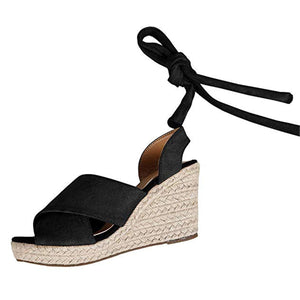 Summer Plain Strappy Cross Strap Wedge Heel Sandal