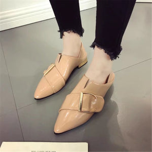 Elegant Plain Pointed Toe Coarse Heel Flat Shoes