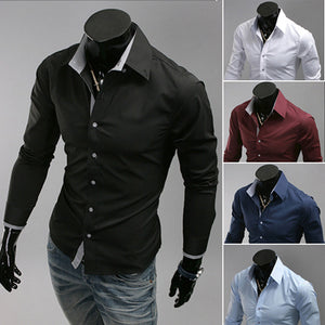 Casual Solid Color Lapel Men's Slim Long-Sleeved Shirt