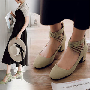 Fashion Round Toe Plain Coase Heel Shoes