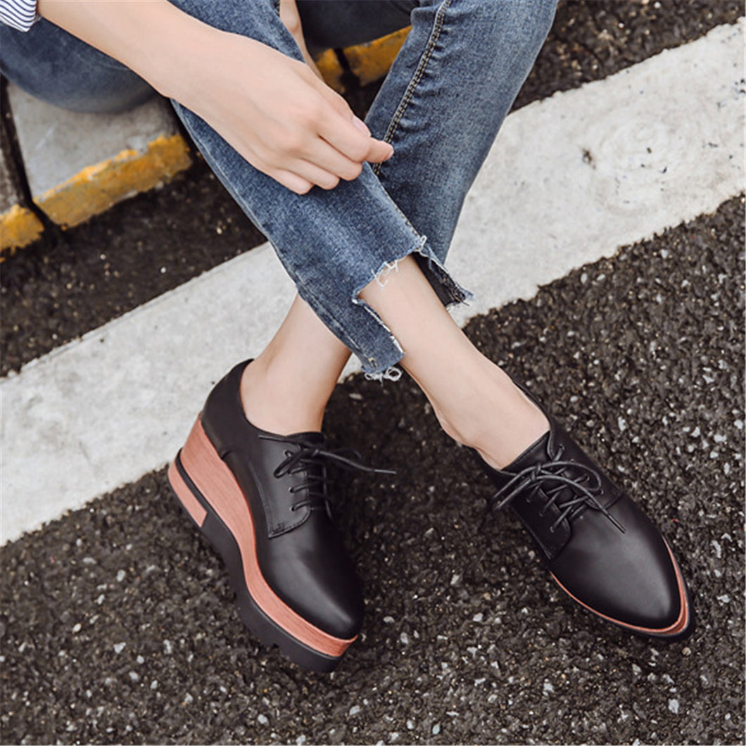 Fashion Strappy Plain Thicken Sole Leather Shoes