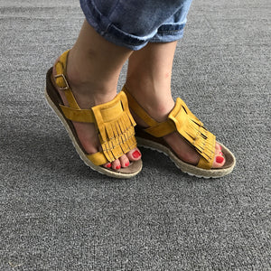 Fashion Plain Fringe Embellished Wedge Heel  Sandal