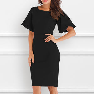 Elegant Stitching Trumpet Sleeves Hip Casual Dress