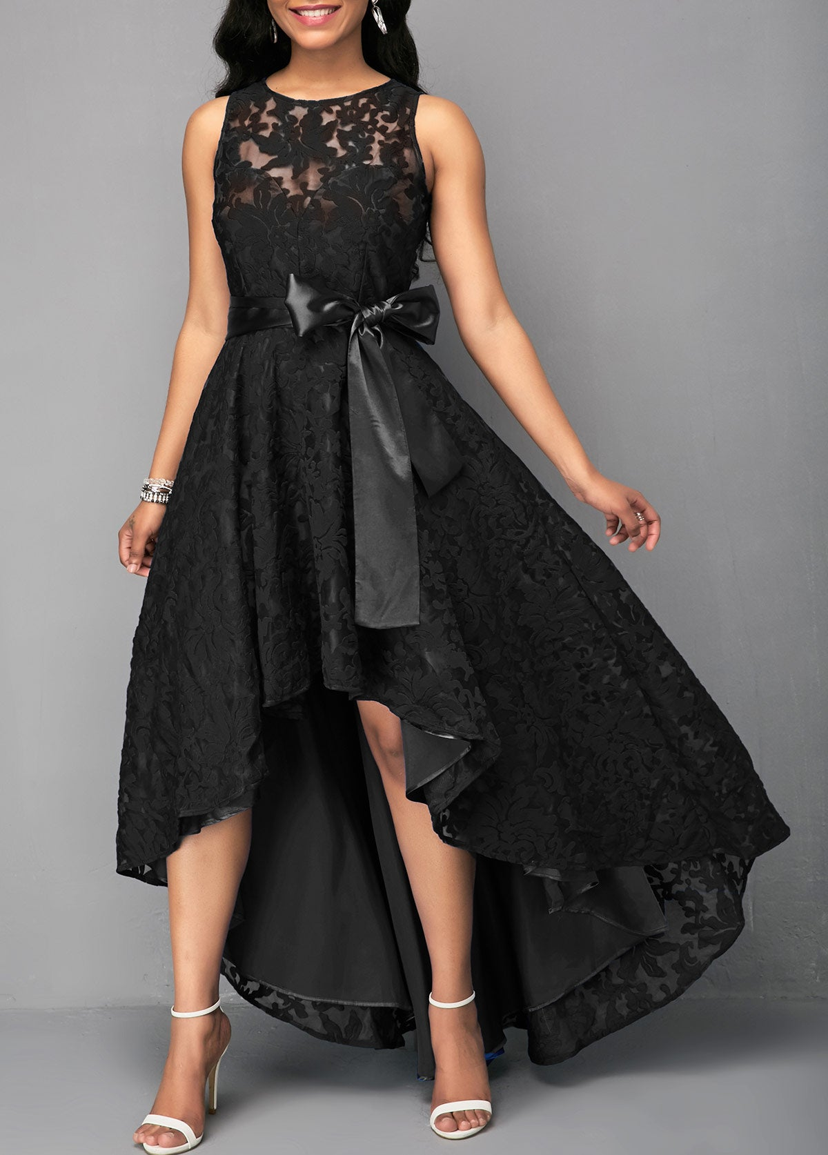 a6dc28f5cd799 Black Lace Panel Sleeveless High Low Dress – LULULIKE