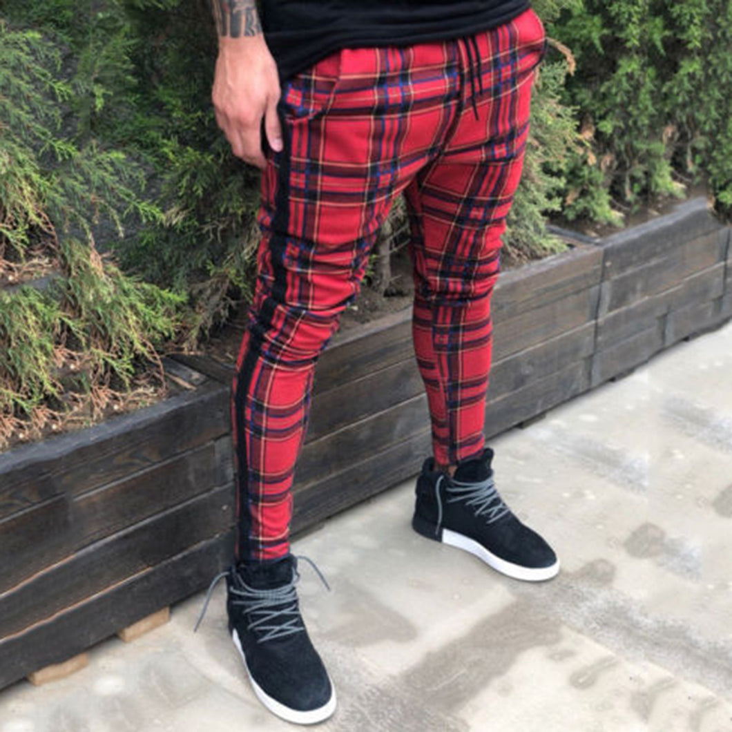 Casual Slim-Fit Plaid Pants