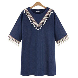 Casual Short Sleeve Ethnic Style Loose Vacation Dress Plus Size