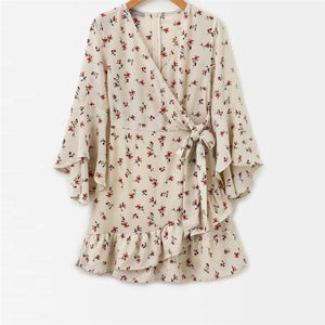 Fashion V Collar Floral Printed Belted Vacation Dress