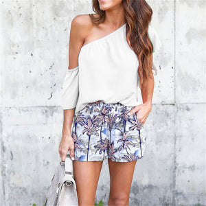 Sweet Plain Off Shoulder Ruffled Loose Top