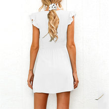 Sweet Deep  V Collar Plain Ruffled Defined Waist Vacation Dress