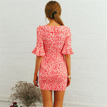 Sexy Deep V Collar Floral Printed Slim Vacation Dress