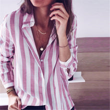 Daily Lapel Loose Striped Shirt