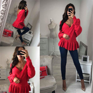 Sweet Plain V Neck Ruffled Slim Top