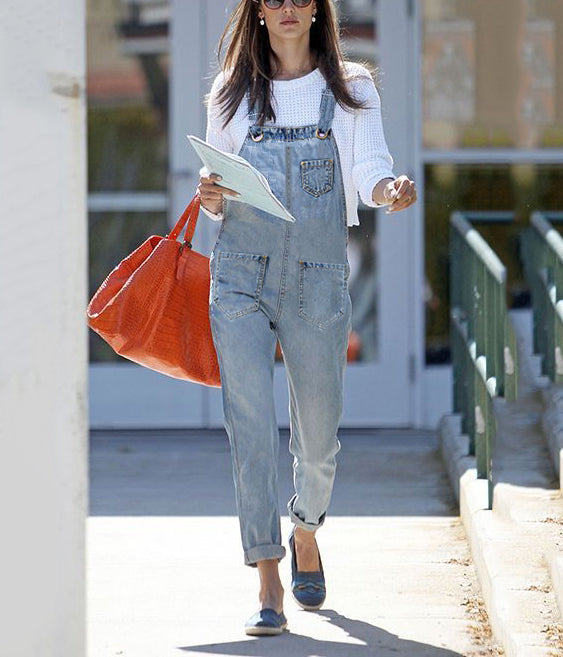 Fashion Aging Pocket Wash Denim Overalls