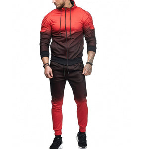 Fashion Gradually Changing Color Plain Sport  Suit