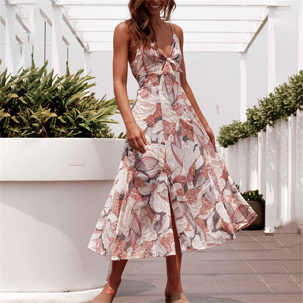 2019 New Floral Printed Knotted Vacation Dress