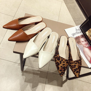 Retro Leopard Print Pointed Flat Shoes