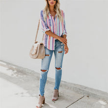 Fashion Colorful Striped Loose Beach Shirt