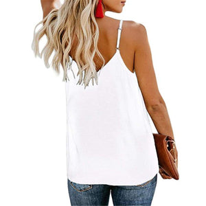 Summer Plain V Collar Loose Button Embellished Vest