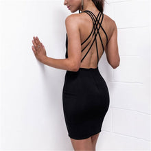 Sexy Deep V Collar Plain Slim Cross Strap Bodycon Dress