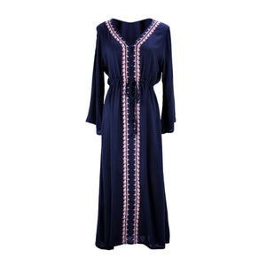 Fashion V Collar Defined Waist Loose Vacation Dress