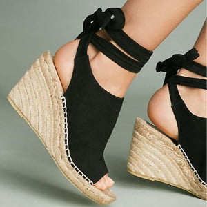 Fashion High Heel Lace-Up Wedge Sandals