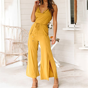 Summer Plain Sling Belted Wide Leg Jumpsuit