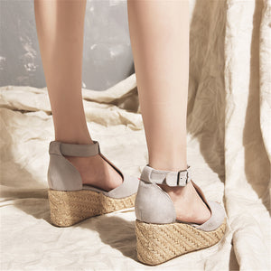 Buckle T-Type Strap Peep Toe Fashion Wedges Sandals