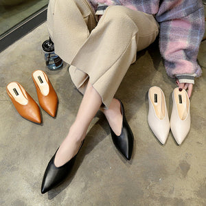 Vintage Plain Pointed Toe Coarse Heel Pumps