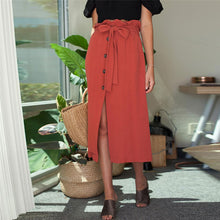 Sweet Plain Red Belted Button Embellished Skirt