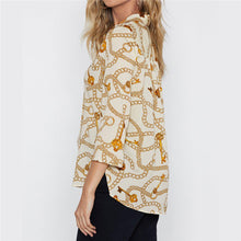 V-Neck Printed Long-Sleeved   Chiffon Shirt Top