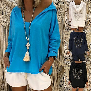 Loose Casual Back Print Hooded Long Sleeve Hoodie