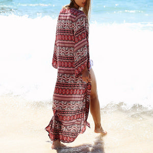Bohemia Style Floral Printed Loose Long Cardigan