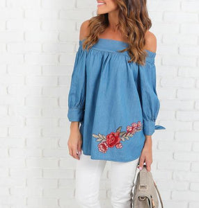 Embroidered Denim One-Shoulder Loose Top
