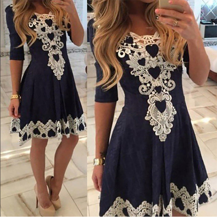 Lace Round Neck Half Sleeve High Waist Sexy Dress