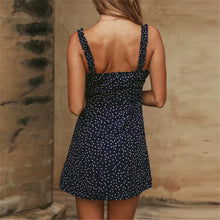 Fashion Off Shoulder Polka Dot Printed Slim Vaaction Dress