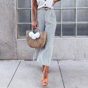 Fashion High Waist Striped Slim Pants