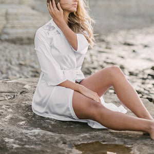 Stitching Lace White Beach Bikini Cardigan