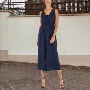 Solid Color V-Neck With Chest Wrapped Waist Straps Jumpsuit
