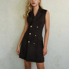 V-Neck Double-Breasted Blazer Sleeveless Dress