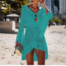Sun Protection Clothing Swimsuit Outside Riding Knit Skirt Trumpet Sleeve   Beach Sexy Bikini Blouse Knit Skirt