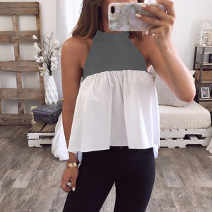 Fashion Round Neck Color Splicing Vests