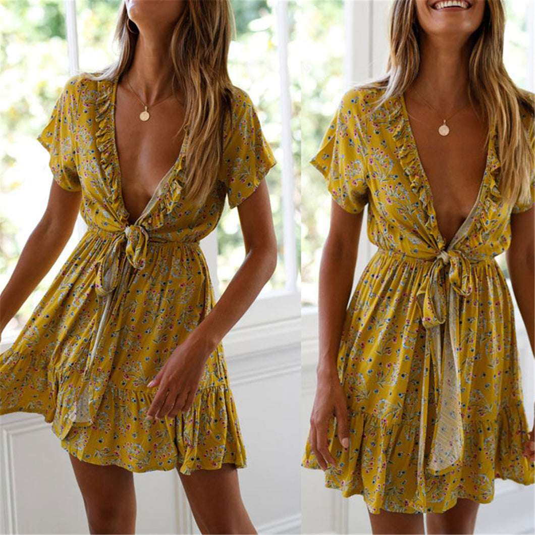 Sexy Deep V Collar Floral Printed Strappy Vacation Dress