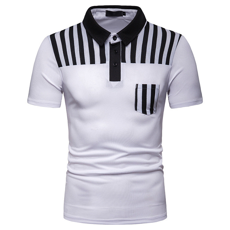 Summer Men's Striped Panel Short Sleeve T-Shirt